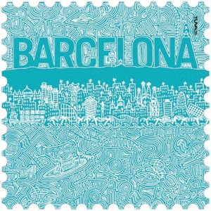 Barcelona microfiber towel turquoise design made in Barcelona
