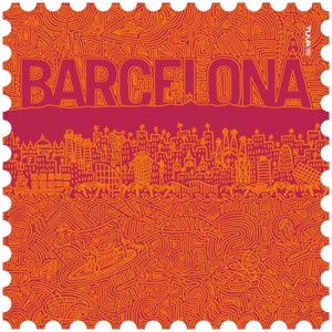Barcelona microfiber towel orange / maroon design made in Barcelona