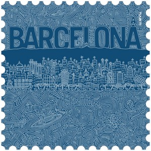 Barcelona microfiber towel blue design made in Barcelona